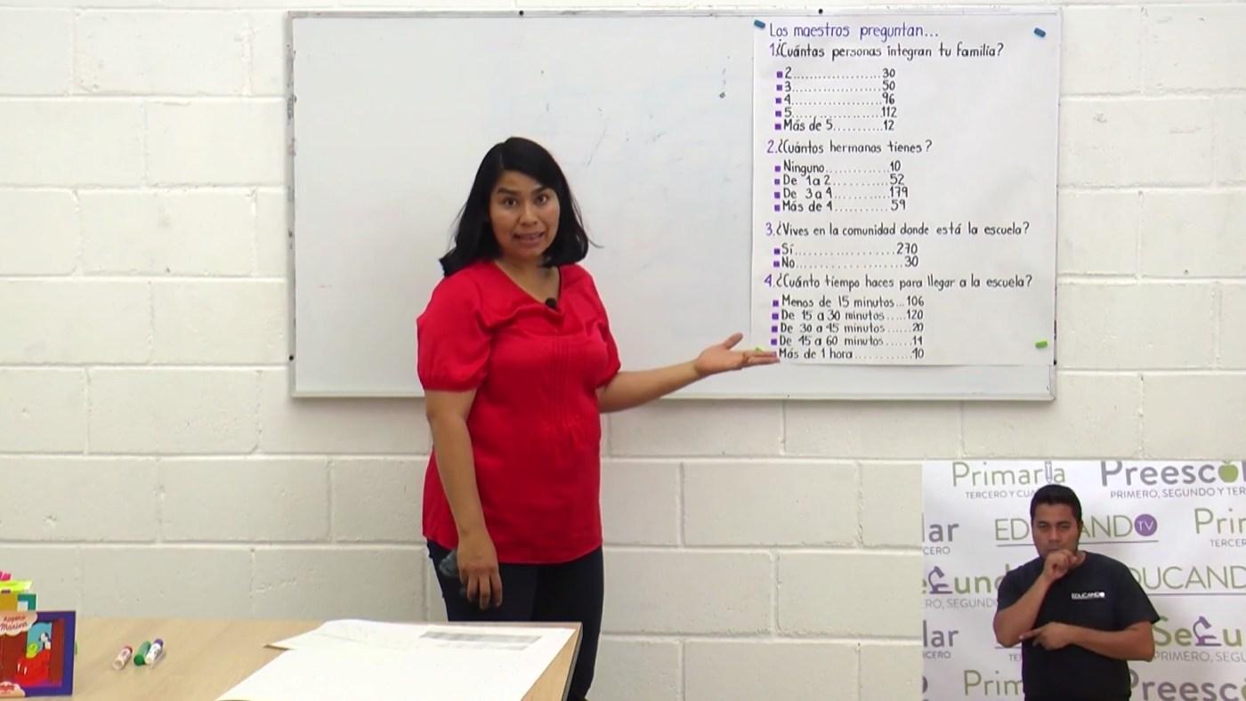 Una maestra ofrece una clase en oaxaca