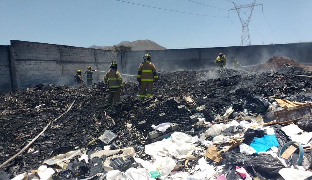 Se incendia, Recicladora, Saltillo, Coahuila, Bomberos