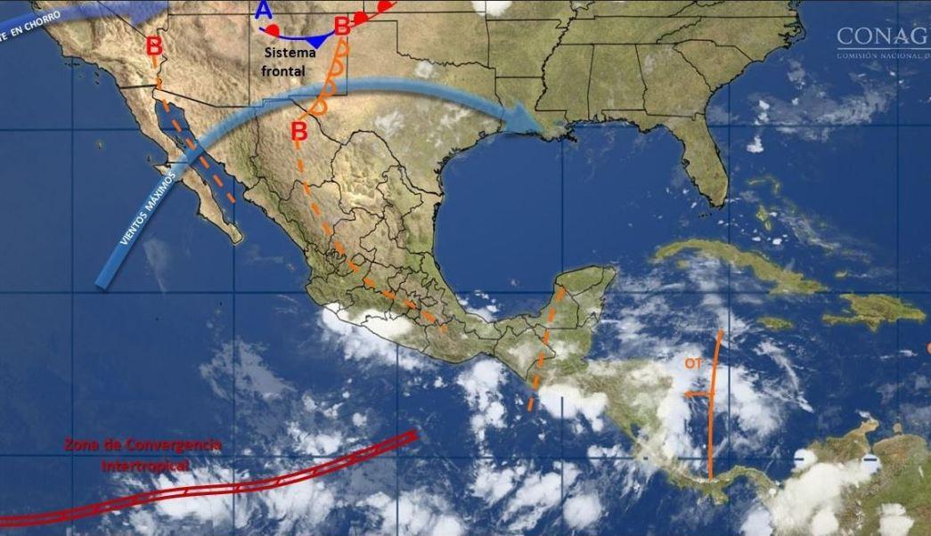 mapa con el pronostico del clima para este 15 de junio