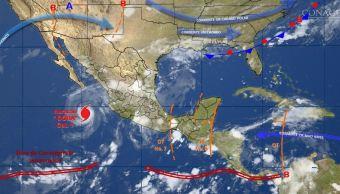 mapa con el pronostico del clima para este 27 de junio