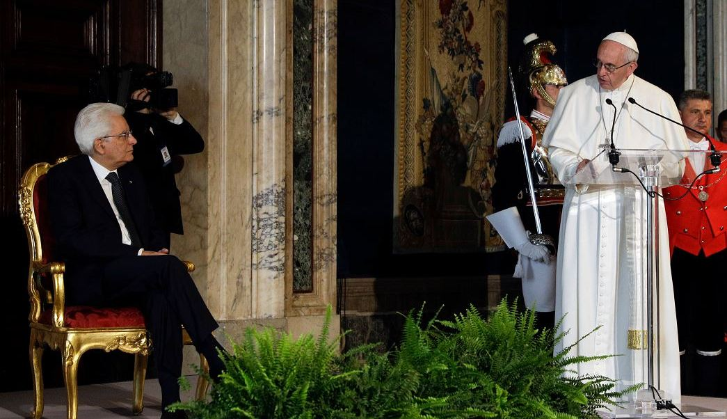 Papa Francisco, Presidente italiano, Sergio Mattarella, palacio presidencial Quirinale,