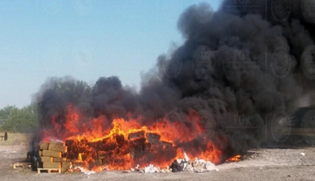 PGR incinera marihuana y cocaina en tamaulipas