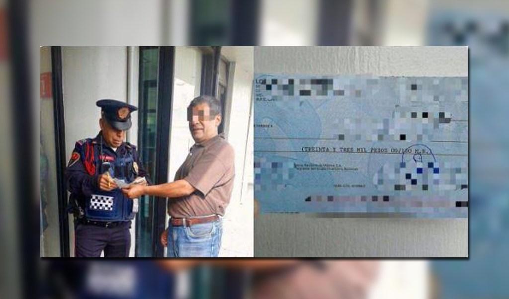 Policia de la Pbi devuelve cheque