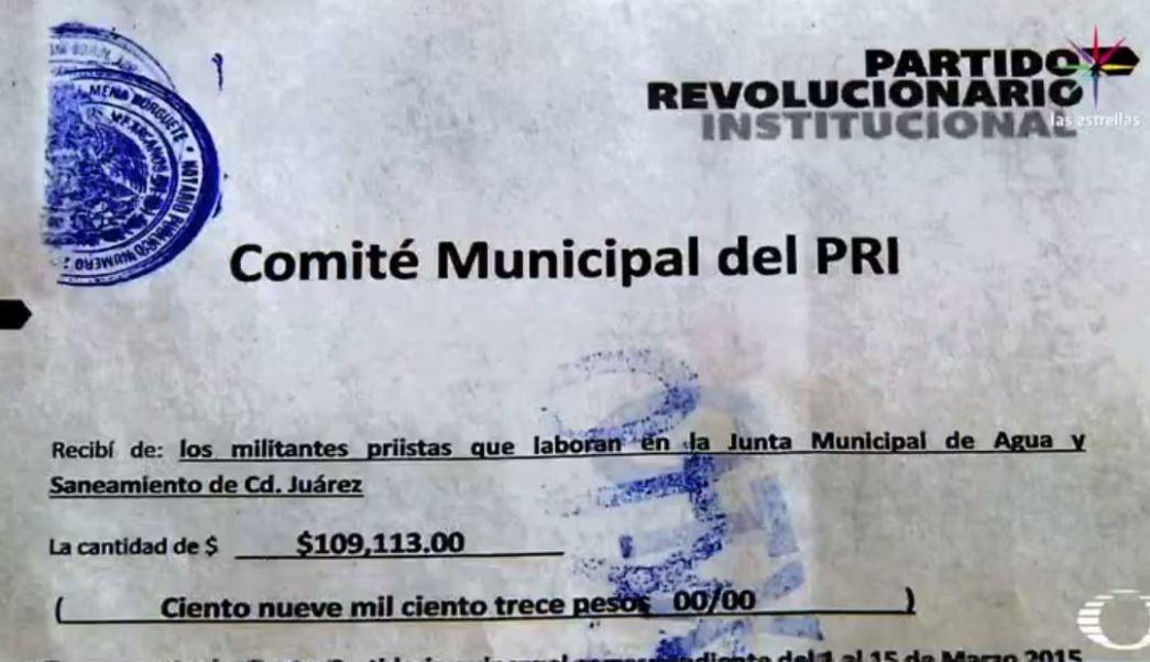 Recibo por 109 mil pesos del PRI de Ciudad Juárez