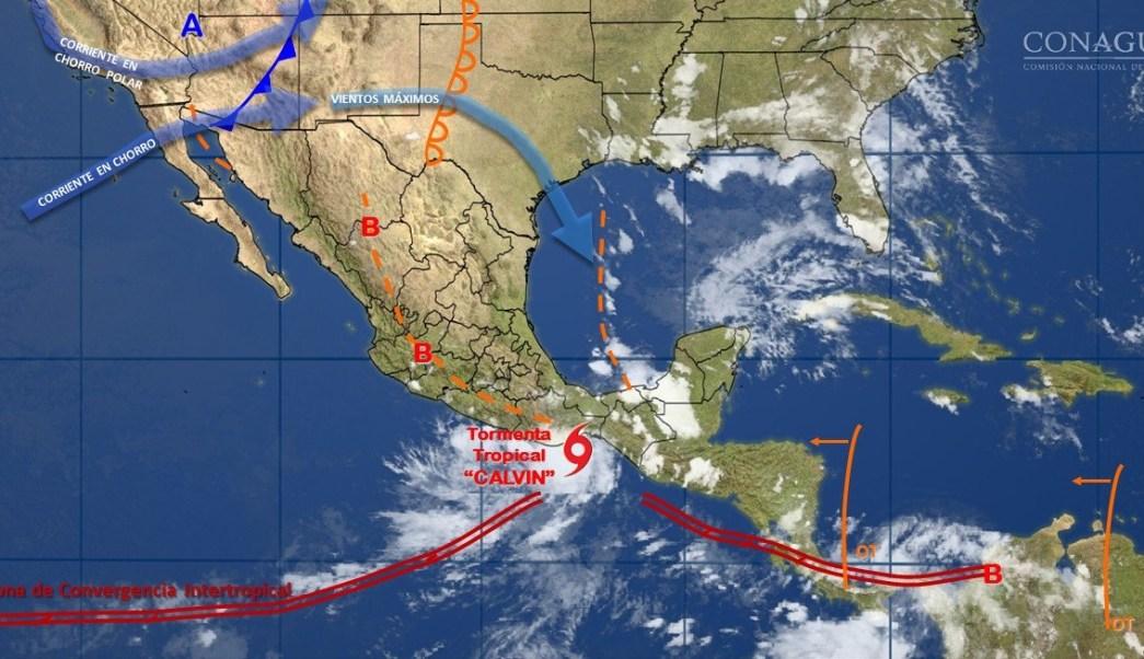 Vista del paso de la depresión tropical Calvin