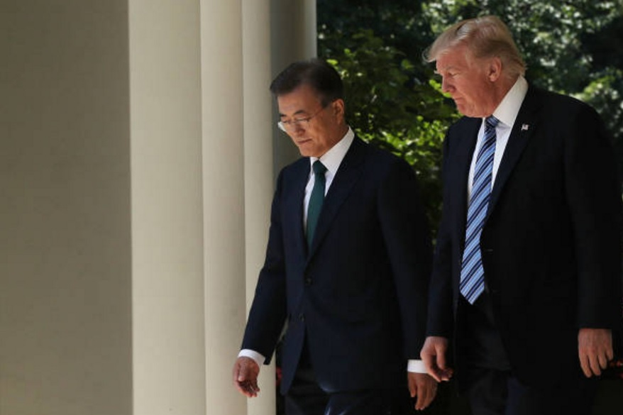 Trump se reunió con el presidente surcoreano, Moon Jae-in. (Getty Images)