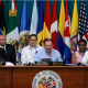 Luis Almagro, Luis Videgaray, Néstor Méndez, en la asamblea de la OEA