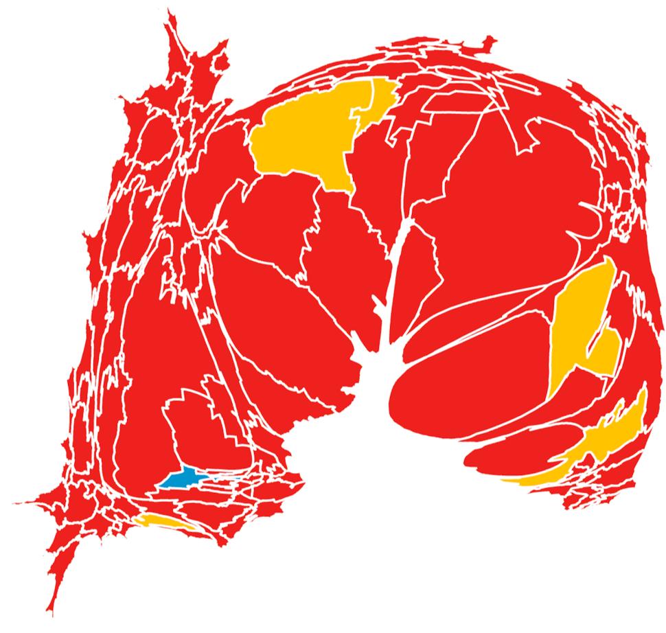 Mapa de las elecciones 2005. El rojo indica triunfo del PRI, el amarillo del PRD y el azul del PAN. Toca la imagen para verla más grande