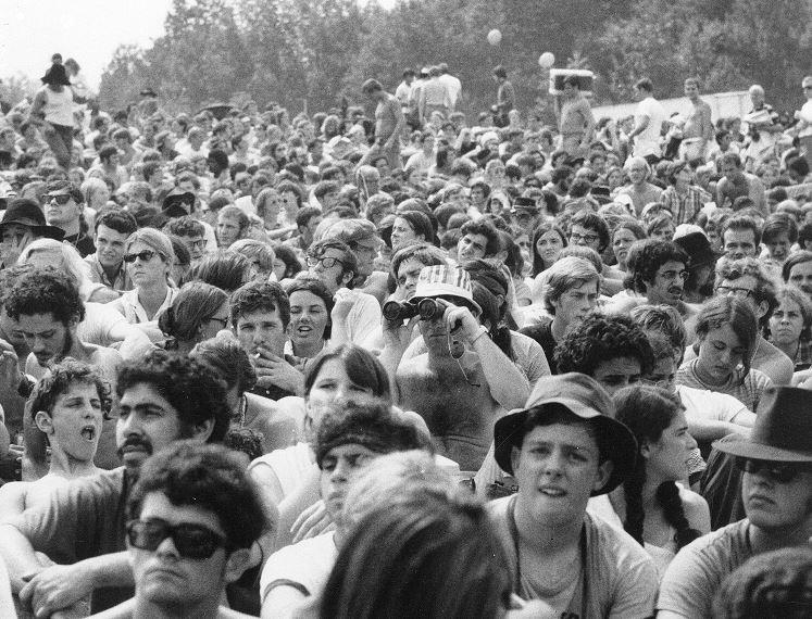 Foto, 1969, multitud, Woodstock, pastizal, música