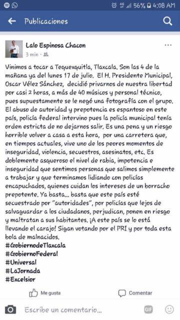 ángeles azules, 2 horas, retenidos, alcalde, Tlaxcala, cumbia
