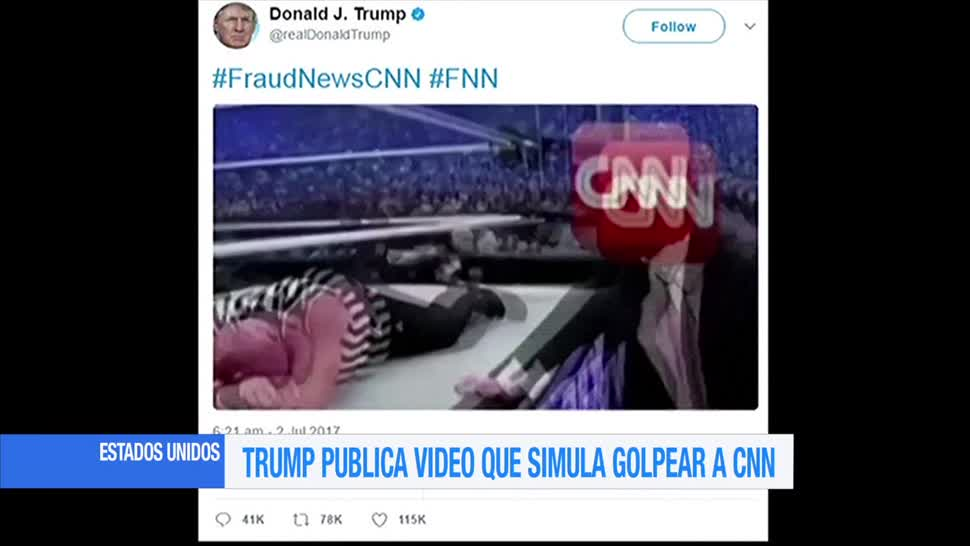 Trump, publica video, simula golpear. CNN