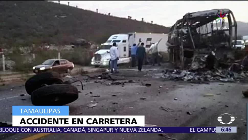 choque, tráiler, autobús de pasajeros, Tamaulipas