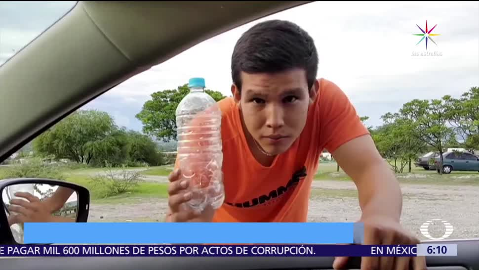 Video, delincuentes, botella de pet, conductor