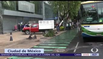 Manifestantes, lateral, Paseo de la Reforma, oficinas de la Sedatu
