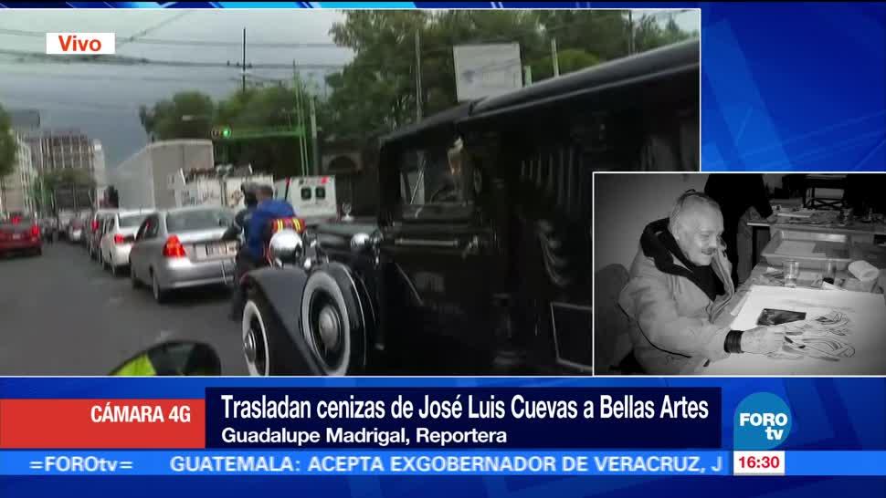 Tráfico, retrasa arribo, restos de José Luis Cuevas, Bellas Artes