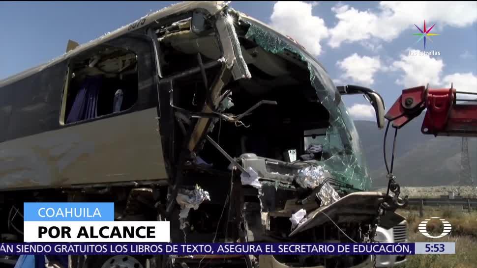 autobús de pasajeros, exceso de velocidad, tráiler, Coahuila
