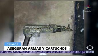 Aseguran, armas y cartuchos, Mazatlán, Sinaloa