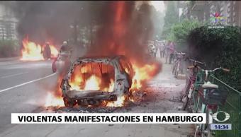 noticias, forotv, Queman vehículos, protestas, G20, Hamburgo