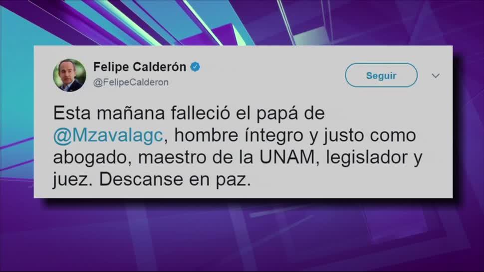 Murió el padre Margarita Zavala, Diego Zavala, Felipe Calderón, twitter