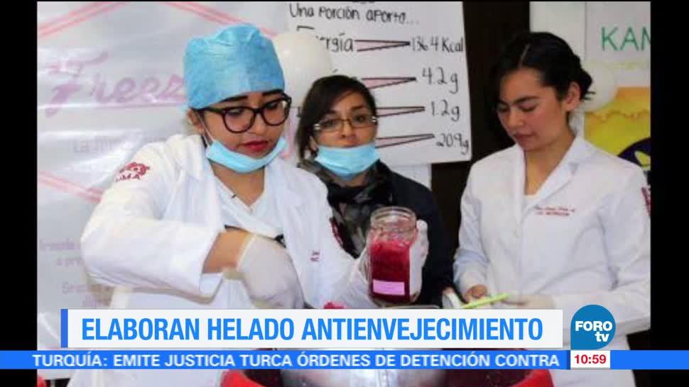 Estudiantes del IPN, helado con jamaica, digestión, envejecimiento prematuro