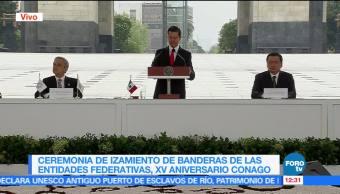 Peña Nieto, ceremonia de Izamiento, Banderas de Entidades Federativas, XV Aniversario, Conago