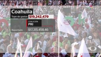 noticias, televisa, PRI y PAN, Coahuila, rebasaron, gastos de campaña