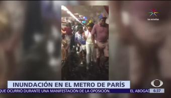estaciones, Metro de París, capital francesa, intensas lluvias
