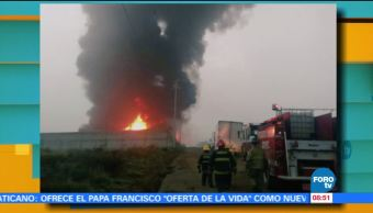 Huehuetoca, Estado de México, bomberos, incendio, bodega de solventes, plásticos