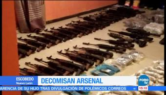 Decomisan, arsenal en Escobedo, madrugada, NL