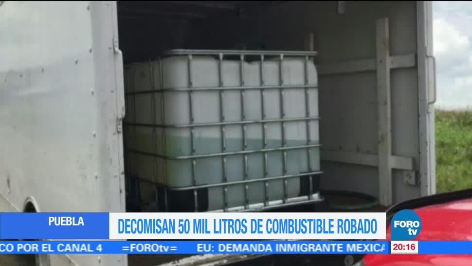 noticias, forotv, Aseguran, 50 mil litros, hidrocarburo y 21 camionetas, Puebla