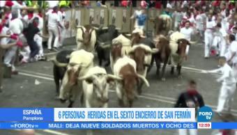 Sexto encierro, San Fermín, en Pamplona, seis heridos