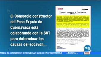 Constructoras, Paso Express, colaboran, SCT, socavón, cuernavaca