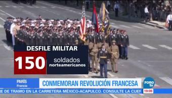 Conmemoran, revolución, francesa, desfile, militar, París