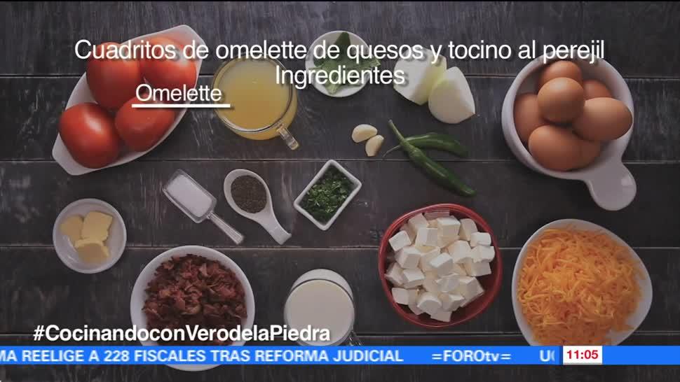 chef, Verónica de la Piedra, cuadritos de omelette. queso, tocino, perejil
