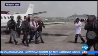video de la llegada, exgobernador de Veracruz, Javier Duarte, PGR, Ciudad de México