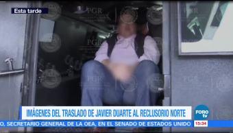 Imágenes, traslado de Javier Duarte, Reclusorio Norte, PGR