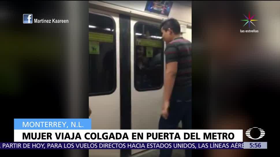 Captan en Monterrey, mujer colgada, un vagón del Metro, LadyMetro