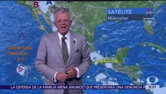 canal de baja presión, onda tropical, tormentas, 23 entidades