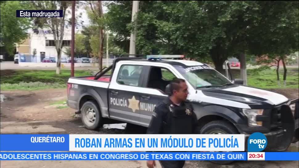 Grupo hombres, sometió, Roban armas, módulo, policía, Querétaro