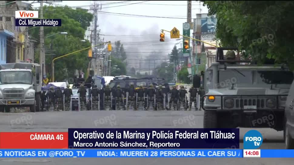 Elementos de la Marina, Policía Federal, Agencia Federal de Investigación, operativo, delegación Tláhuac, enfrentamiento
