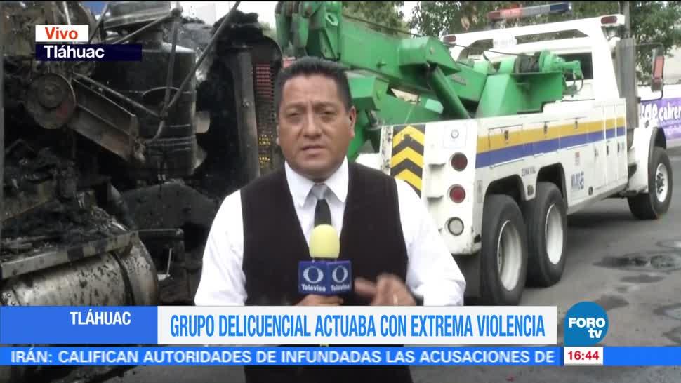 Retiran, vehículo incendiado, Tláhuac, operativo