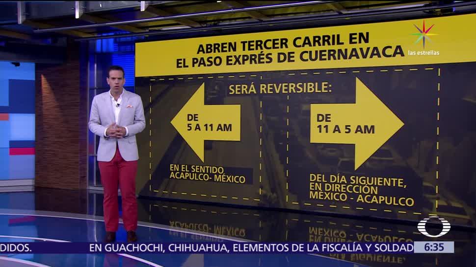 noticias, televisa, SCT, abre circulación, tercer carril, Paso Express