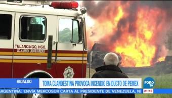 Toma Clandestina Hidalgo Provoca Incendio Ducto Pemex