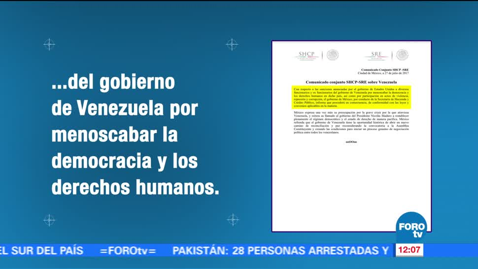 México, apoya, sanciones, EU