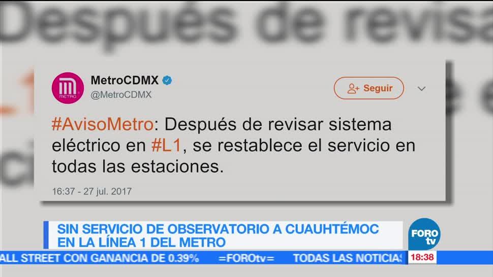 Restablecen Servicio Línea1 Metro Fallas Detenidos