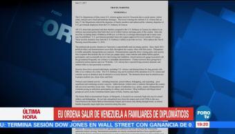 Estados Unidos Ordena Salir Venezuela Familiares diplomáticos