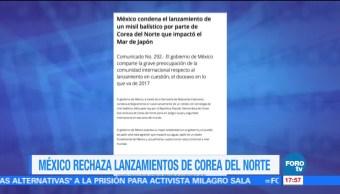 Mexico Condena Lanzamiento Misil Balistico Norcorea