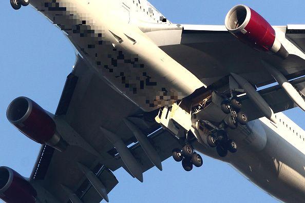 avión, aerolínea, compartimiento, tren de aterrizaje, Boeing-747