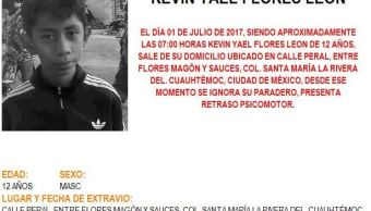 Alerta Amber para localizar a Kevin Yael Flores León, de 12 años (Twitter @PGJDF_CDMX)