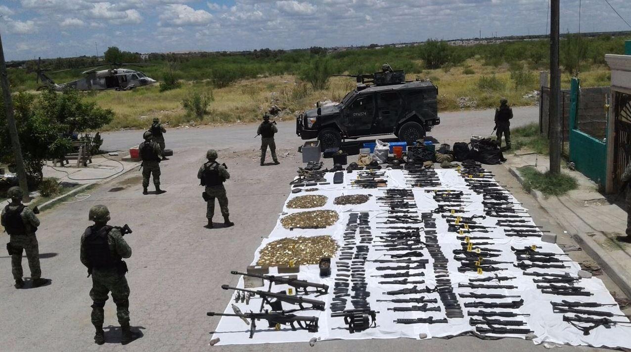 Incautan arsenal de alto calibre en Nuevo Laredo